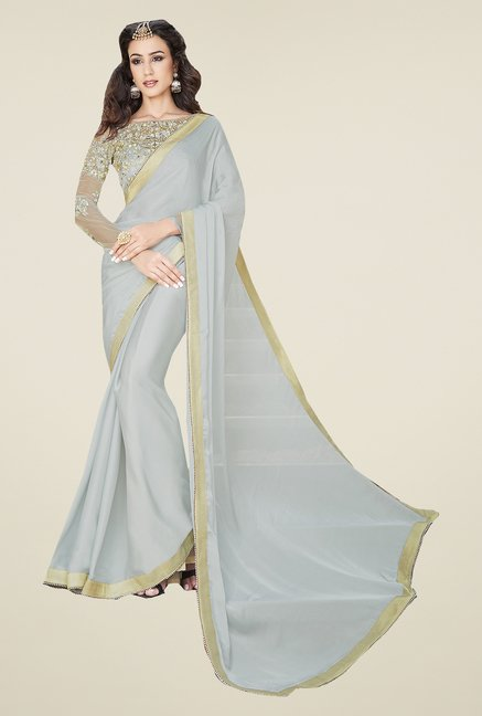 Ishin Grey Georgette & Satin Saree