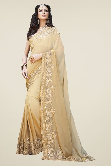 Ishin Beige Faux Georgette Embroidered Saree