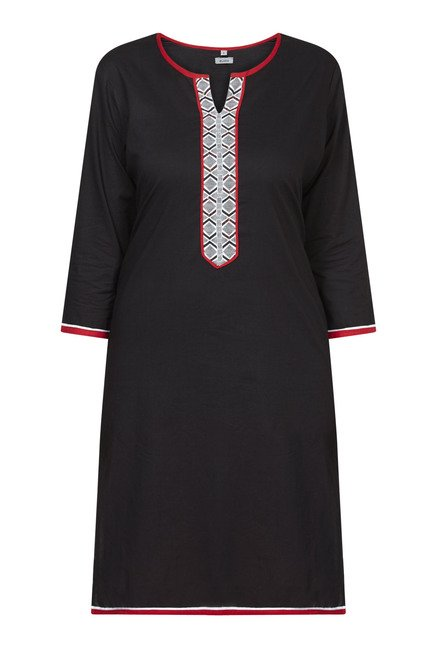 Zudio Black Solid Kurta