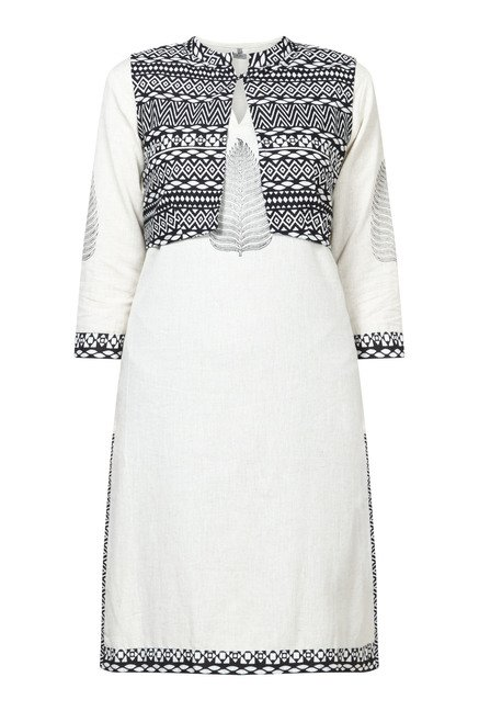 Zudio Off White Aztec Print Kurta