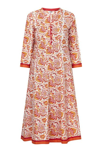 Zudio Orange Floral Print Anarkali Kurta
