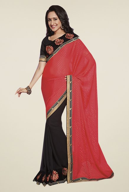 Ishin Black & Red Faux Georgette & Chiffon Saree
