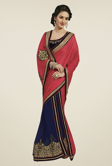 Ishin Blue & Red Faux Georgette & Chiffon Half & Half Saree