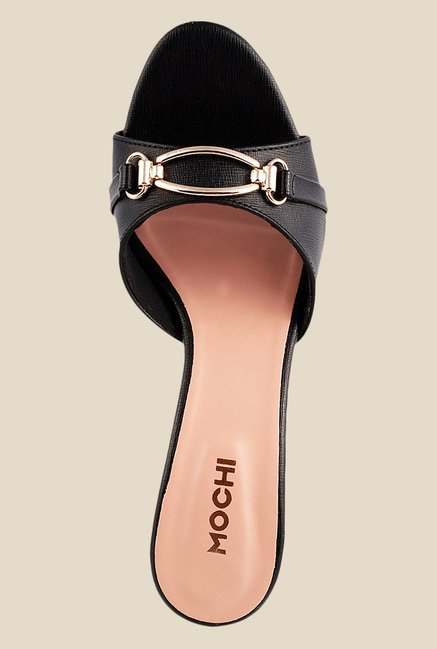 Mochi Black Stiletto Heeled Sandals