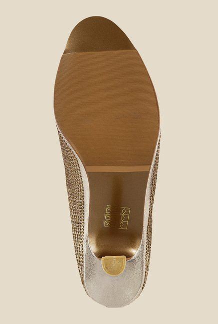 Mochi Golden Stiletto Heeled Sandals