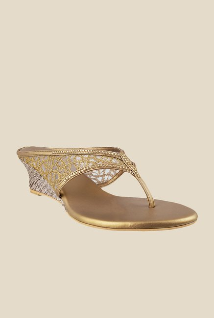 Mochi Antique Gold Thong Sandals