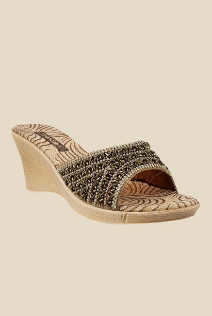 Mochi Bronze Wedge Heeled Sandals