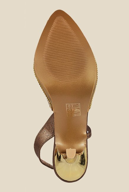 Mochi Antique Gold Sling Back Stilettos