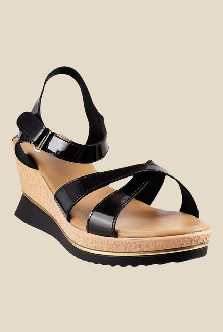 Mochi Black Ankle Strap Sandals
