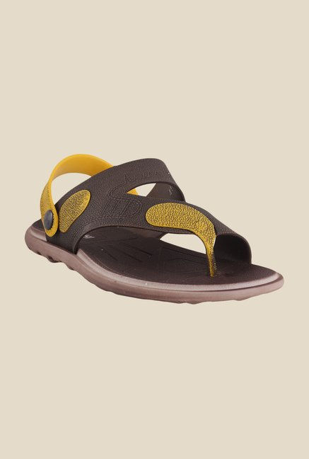 Mochi Brown & Yellow Sling Back Sandals