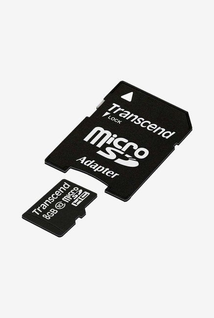 Transcend 8 Gb Class 10 microSDHC Flash Memory Card (Black)