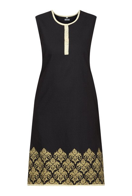 Zudio Black Sleeveless Kurta