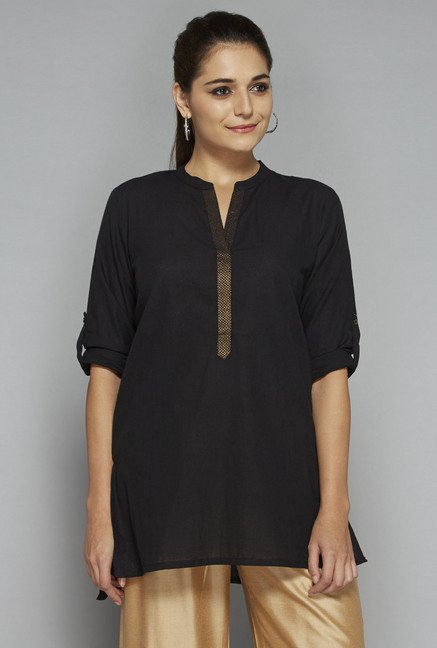 Utsa by Westside Black Solid Kurti