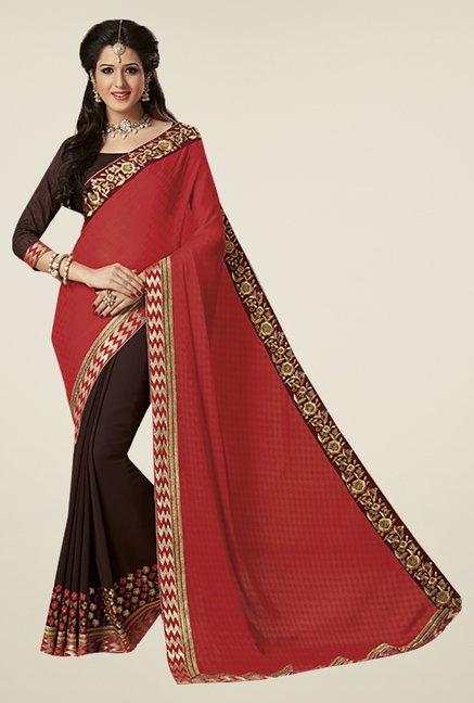 Ishin Brown & Red Faux Georgette & Chiffon Saree