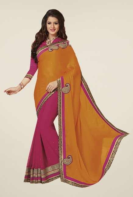 Ishin Pink & Orange Faux Georgette & Chiffon Saree