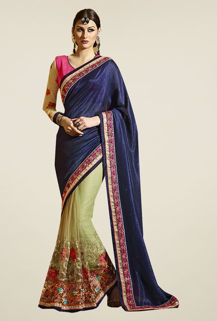 Ishin Beige & Blue Faux Georgette & Net Saree