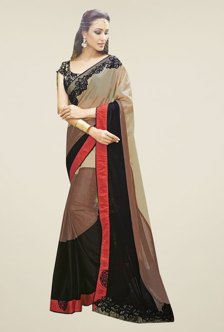 Ishin Black & Brown Lycra Saree