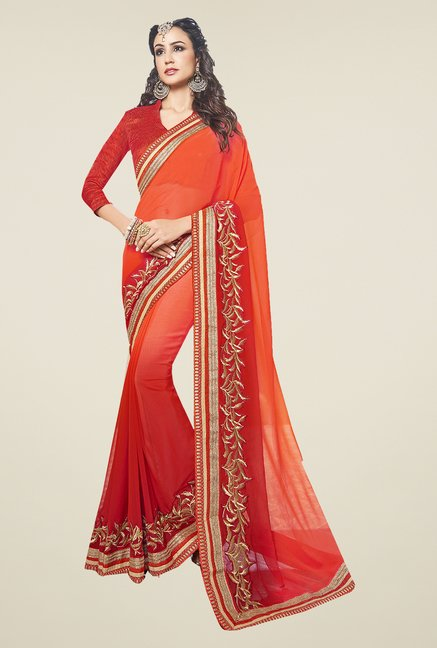 Ishin Red & Orange Faux Georgette Saree