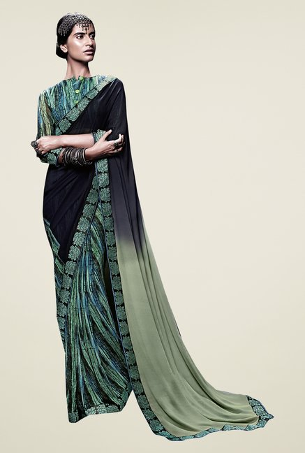 Ishin Green & Black Faux Georgette Half & Half Printed Saree