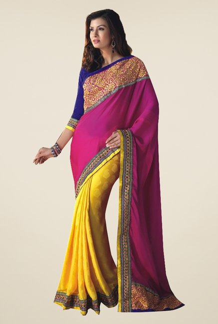 Ishin Yellow & Pink Faux Georgette & Chiffon Saree