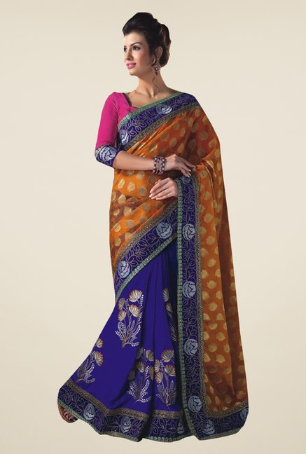Ishin Blue & Orange Faux Georgette & Chiffon Saree