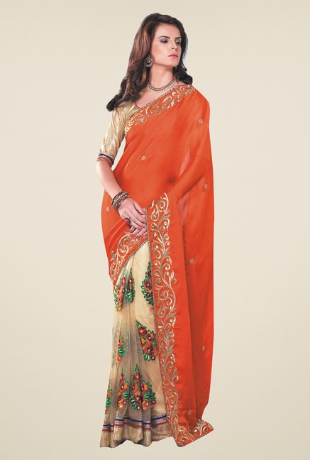 Ishin Beige & Orange Faux Georgette & Chiffon Saree
