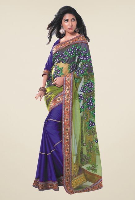 Ishin Blue & Green Faux Georgette & Chiffon Saree