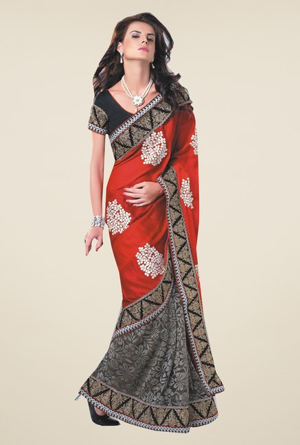Ishin Black & Red Faux Georgette & Chiffon Half & Half Saree