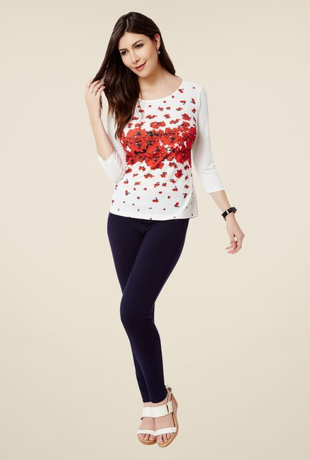 Avirate Off White & Red Floral Print Top