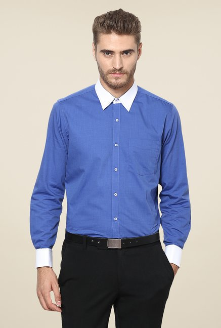 Turtle Blue Solid Full Sleeve Slim-fit Shirt