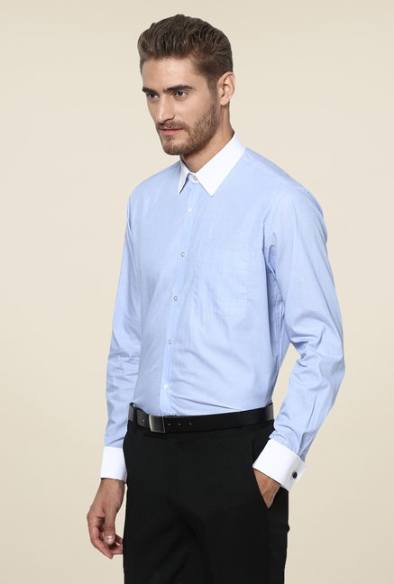 Turtle Light Blue Solid Slim-fit Shirt