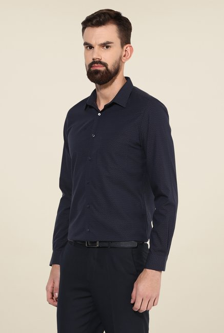 Turtle Navy Printed Slim-fit Shirt