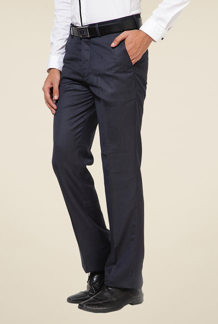 Turtle Navy Terry Rayon Solid Trousers