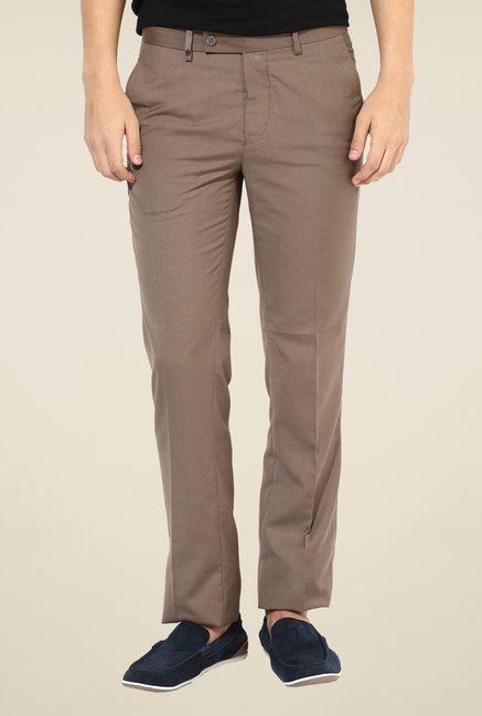 Turtle Beige Mid Rise Solid Trousers