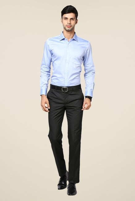 Turtle Sky Blue Solid Slim-fit Shirt