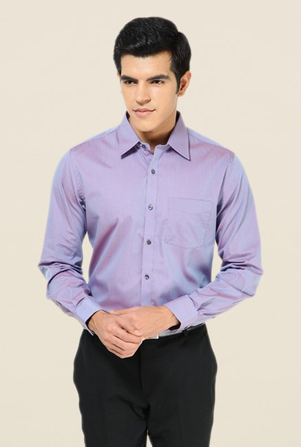 Turtle Purple Solid Full Sleeve Slim-fit Shirt