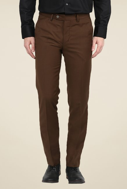 Turtle Brown Terry Rayon Solid Trousers