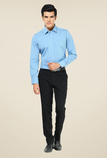 Turtle Blue Solid Full Sleeve Cotton Shirt