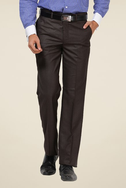 Turtle Brown Solid Trousers