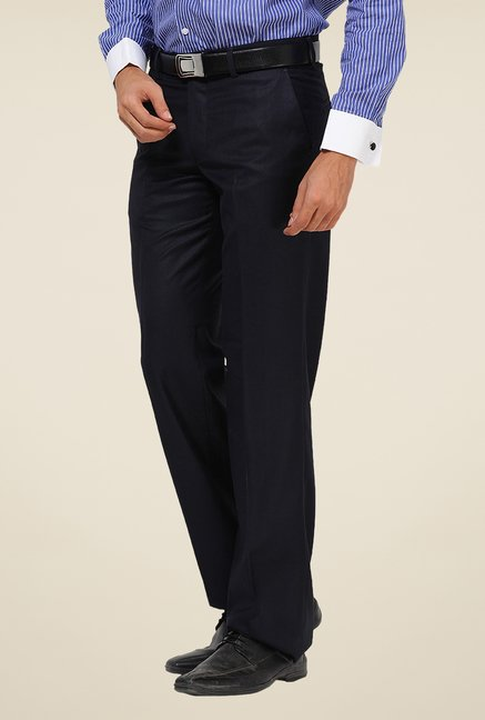 Turtle Navy Mid Rise Solid Trousers