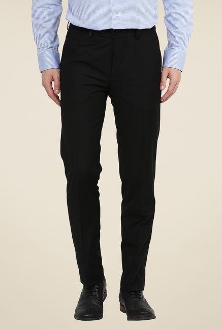 Turtle Black Terry Rayon Solid Trousers