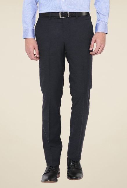 Turtle Black Mid Rise Solid Trousers