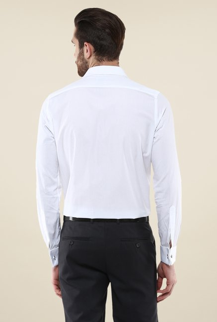 Turtle White Solid Full Sleeve Slim-fit Shirt