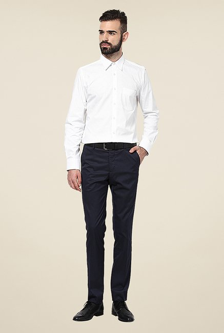 Turtle White Solid Cotton Shirt