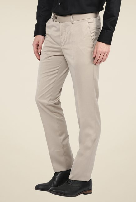 Turtle Beige Solid Trousers