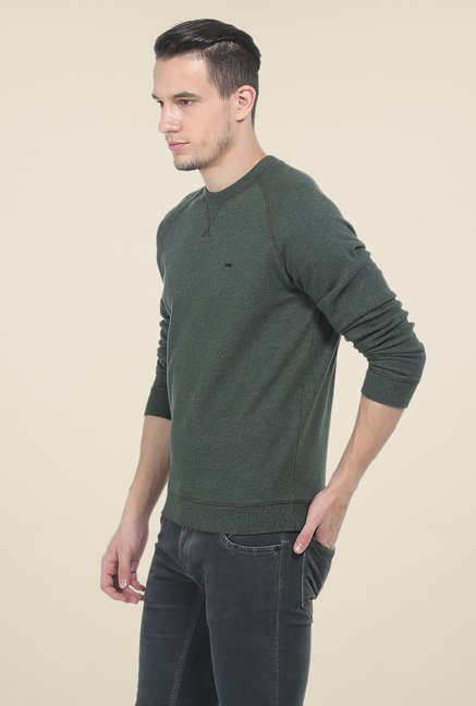 Basics Green Solid Sweatshirt