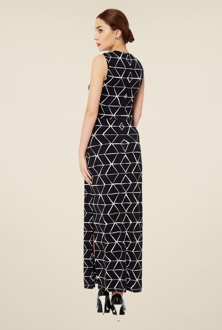 Avirate Black Printed Maxi Dress
