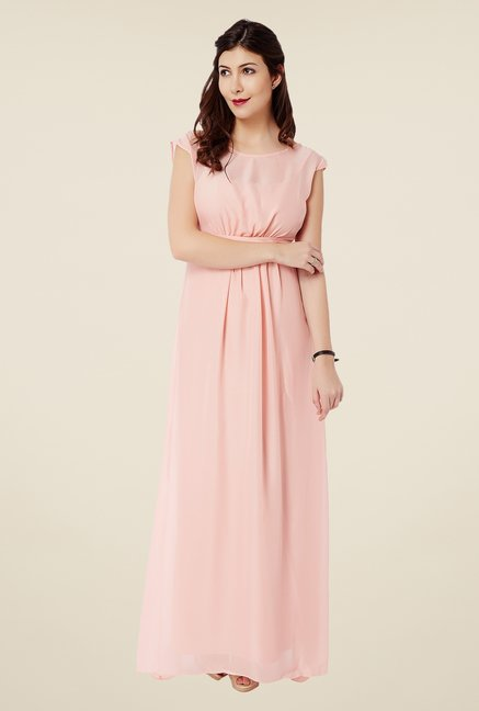 Avirate Peach Empire Waist Maxi Dress