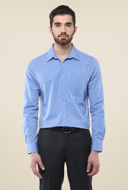 Turtle Blue Solid Full Sleeve Shirt