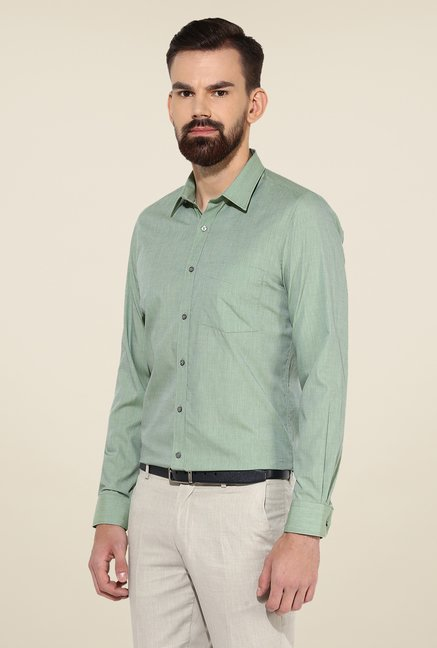 Turtle Olive Textured Slim-fit Shirt